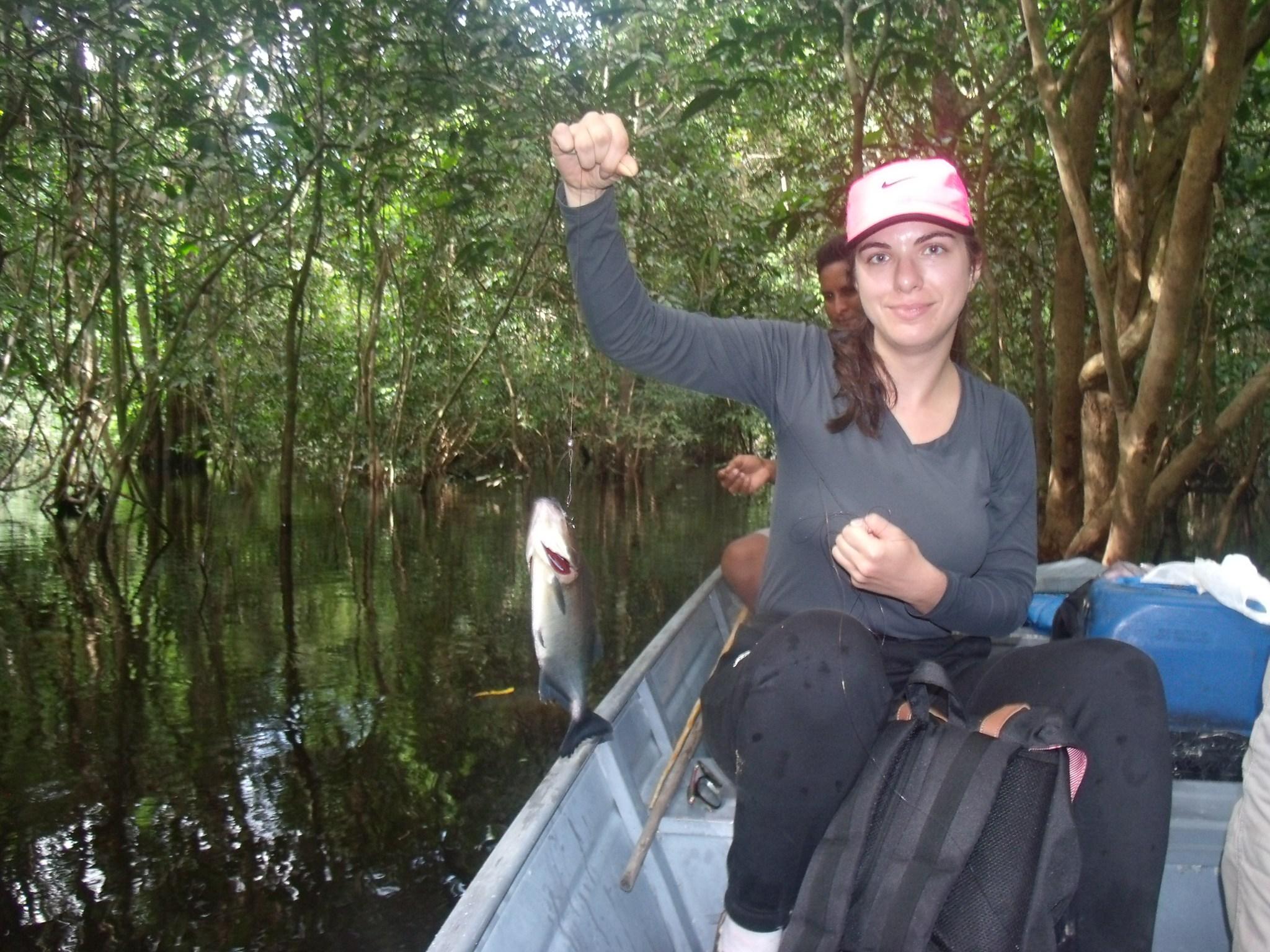 Fishing piranhas.