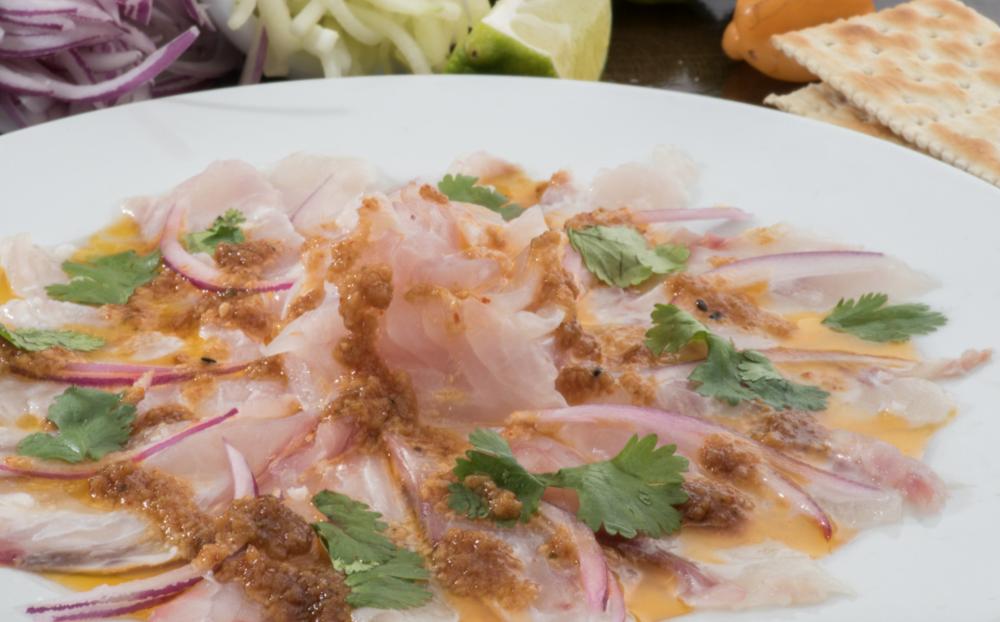 Fresh sashimi spearfishing in Cancun
