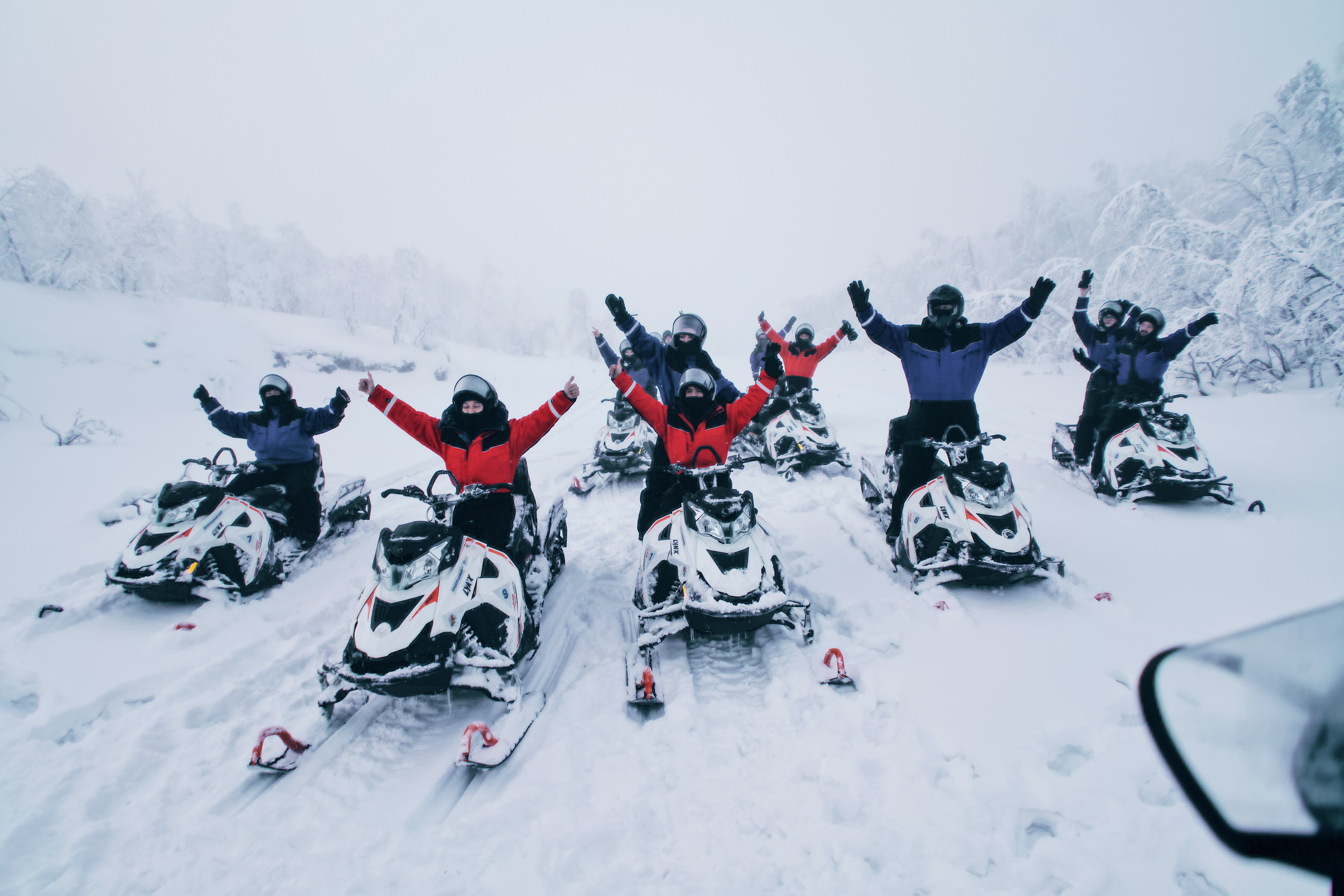 Ride on the snowmobiles