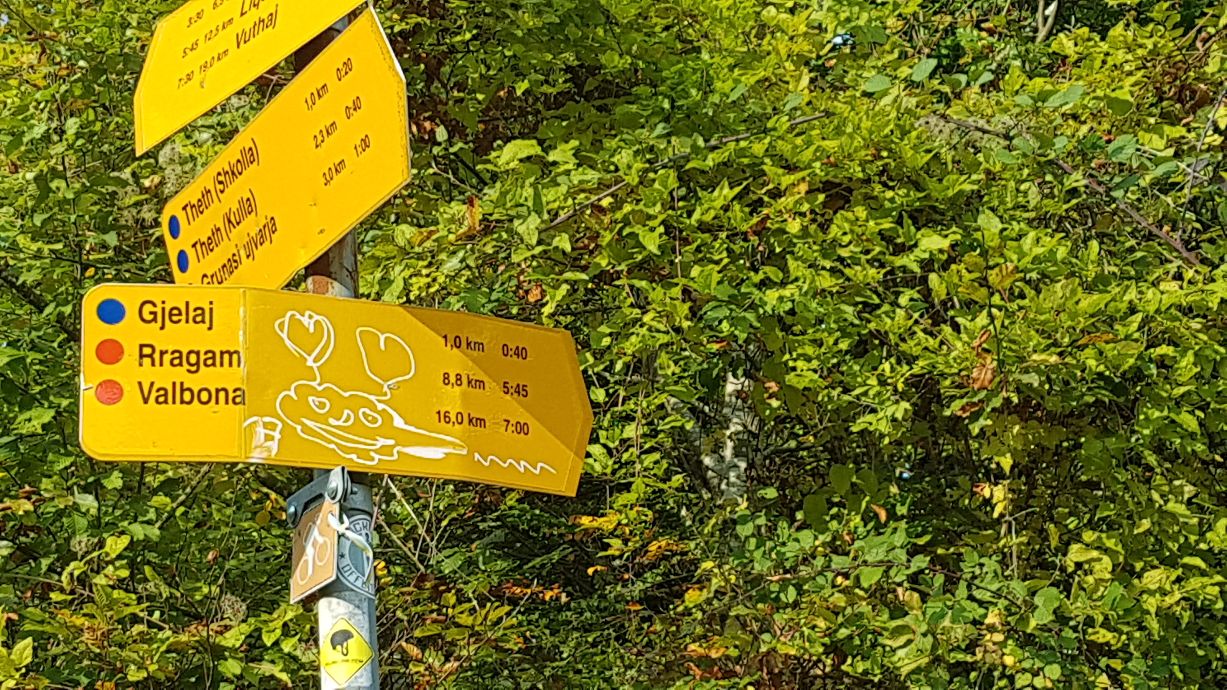 Directions Board While Hiking to Kruje