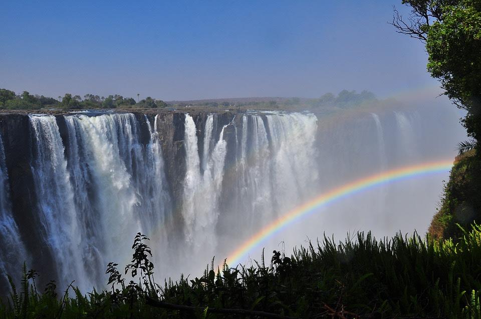Rainbow over the majestic Victoria Falls
