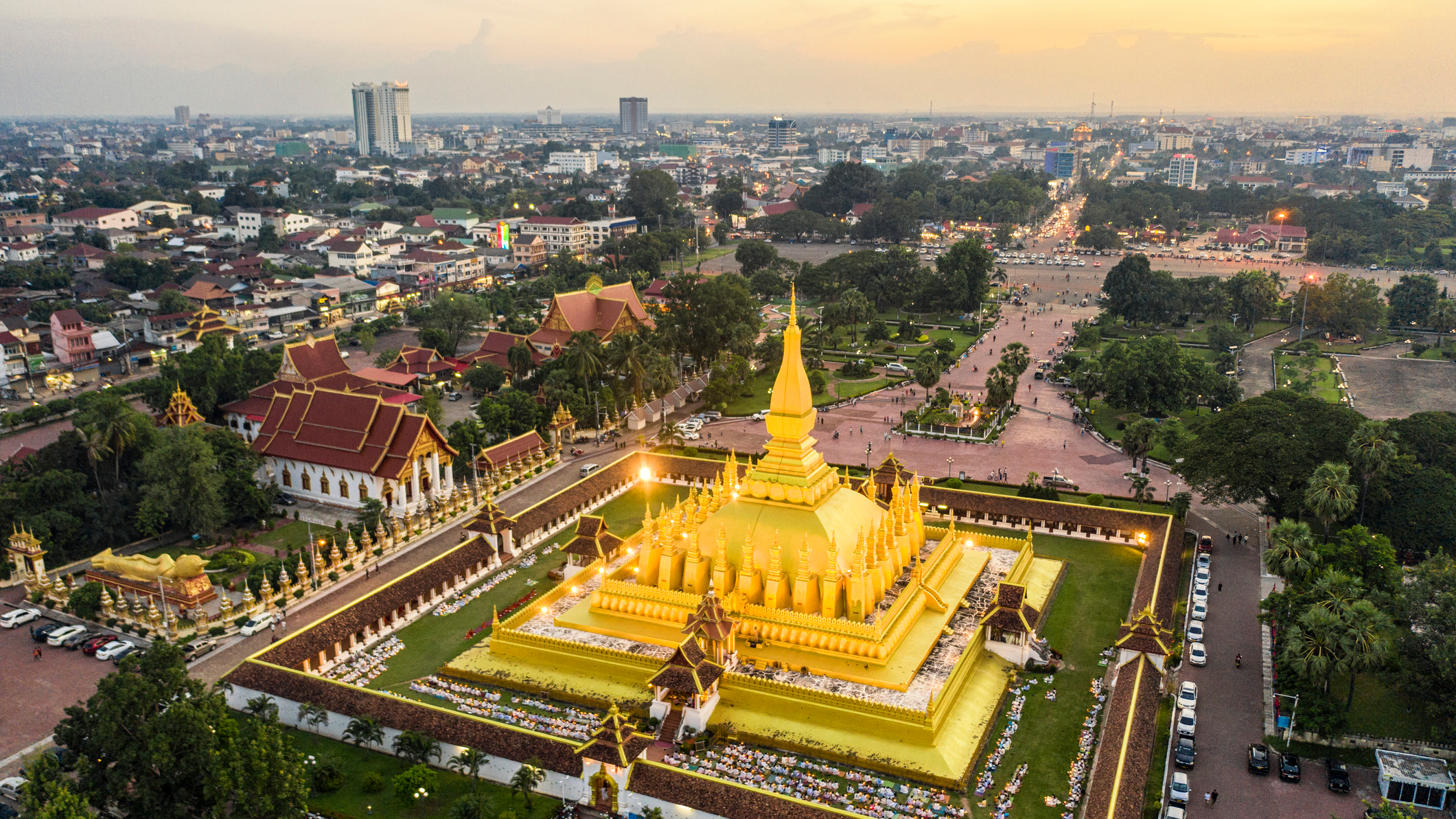 Vientiane, Laos' national capital, mixes French-colonial architecture with Buddhist Temples