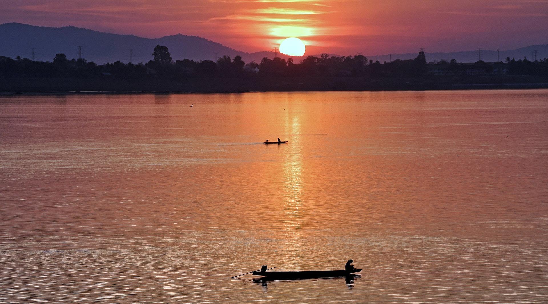 Boat ride in Mekong River, Laos