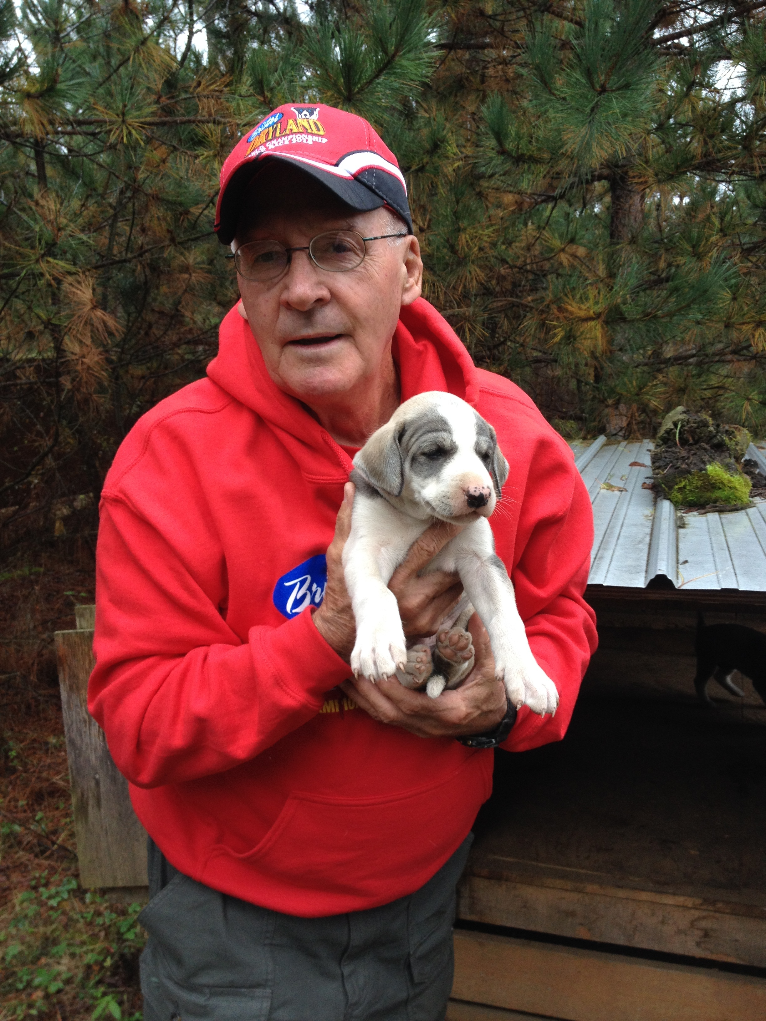Denis Rozon and one of his Eurodog puppies. Photo by Katharine Fletcher.