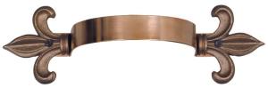 Copper Downspout Bracket with Fleur-de-Lis cut offs