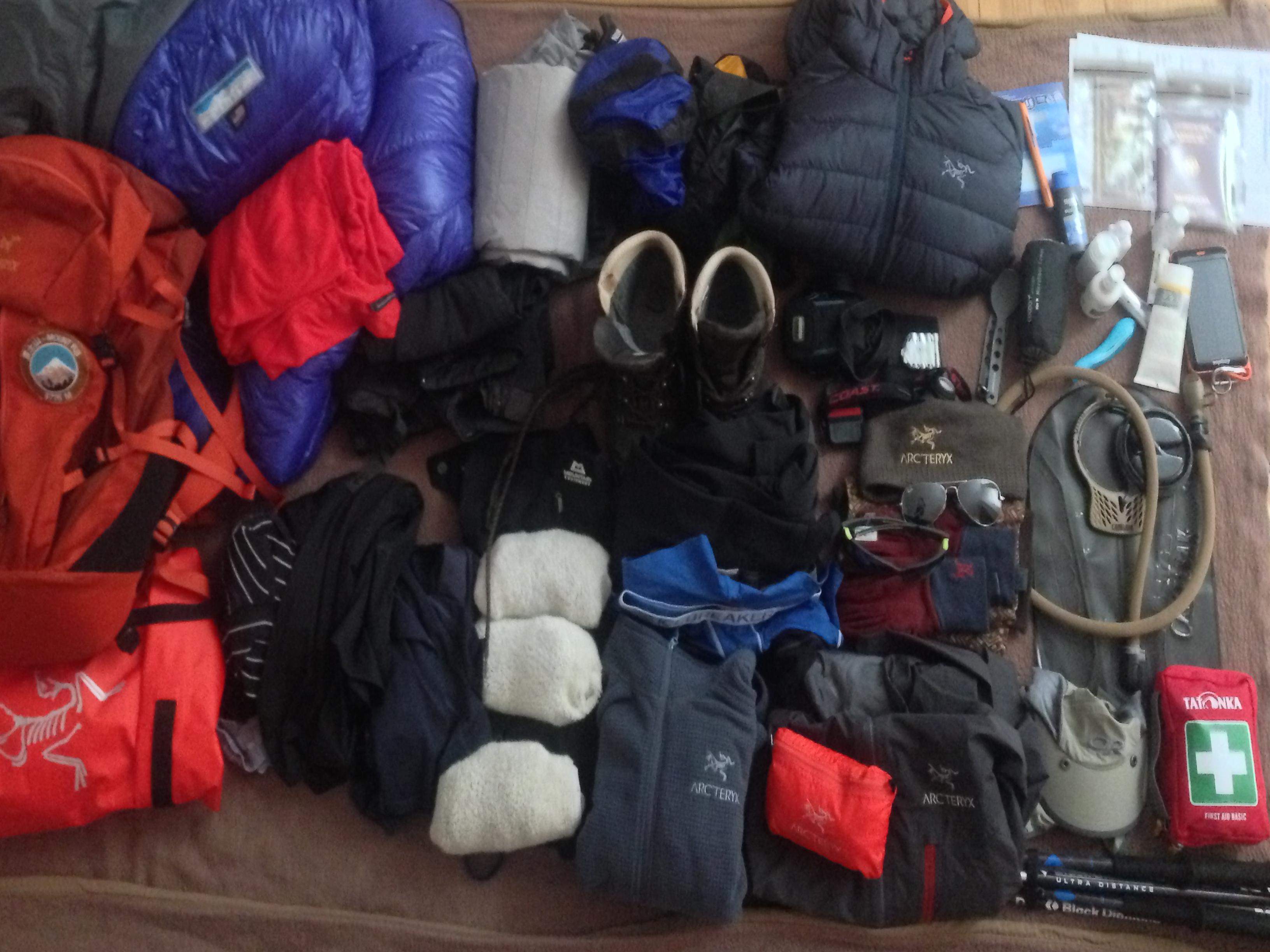 Kilimanjaro Packing List - Equipment uncompressed