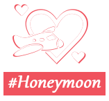 Honeymoon badge white redbordr f9pjgv