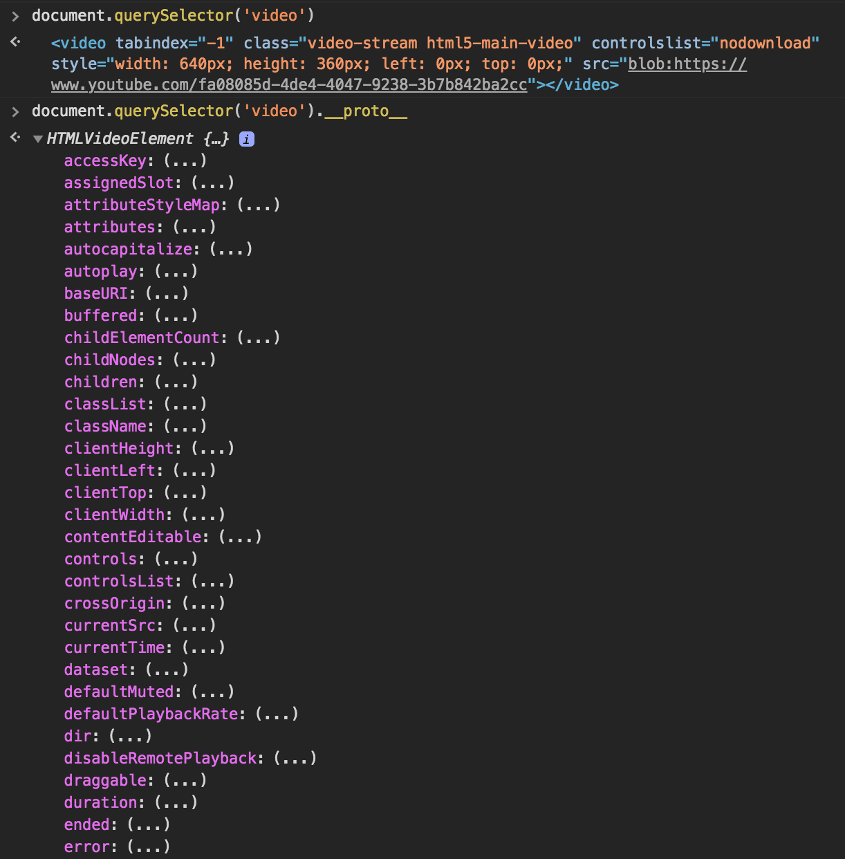 Don't ever try to get information on an element using __proto__.