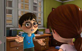 Animation of a shrugging boy wearing glasses