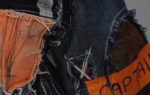 Close--up of clothing in denim and cotton by Joseph Standish, BA (Hons) Fashion Design and Development, 2016.
