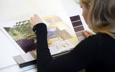 Short course student working on client brief during Introduction to Interior Design - Plus. Photograph: Spine Photographic.