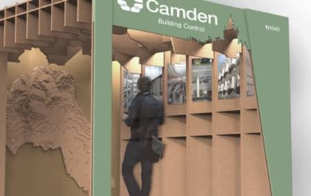 Render of final design proposal for pavilion at Ecobuild.