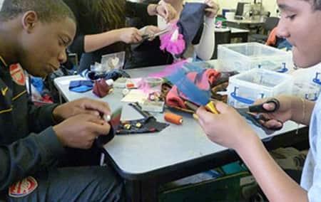 Hackney school students making bags at LCF.