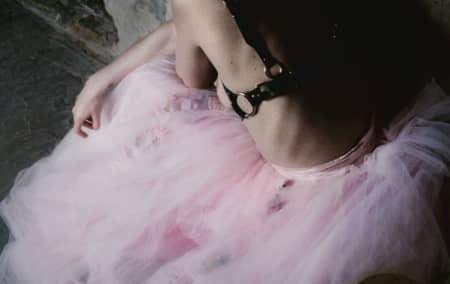 Girl in pink tulle dress