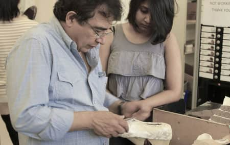 Image of tutor and student in Footwear summer school short course