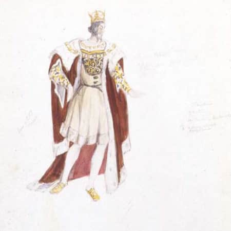 Costume design sketch for Claudius by Jeanetta Cochrane (1944), UAL