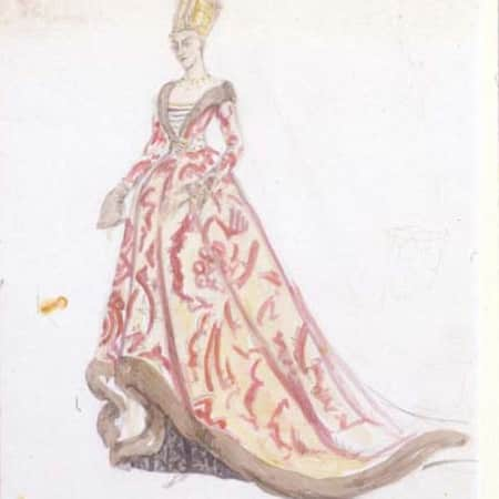 Costume design sketch for Elizabeth by Jeanetta Cochrane (1944), UAL