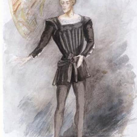 Costume design for John Gielgud as Hamlet by Jeanetta Cochrane (1944), UAL
