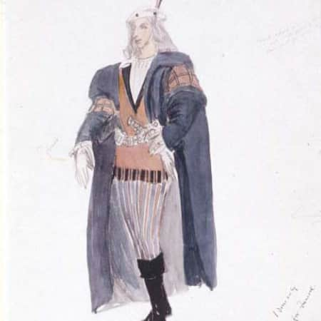Costume design sketch for Laertes by Jeanetta Cochrane (1944), UAL