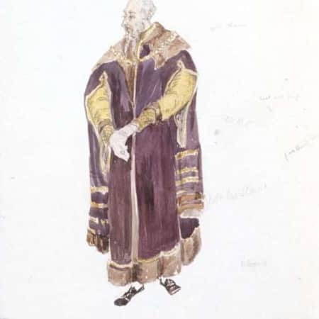 Costume design sketch for Polonius by Jeanetta Cochrane (1944), UAL