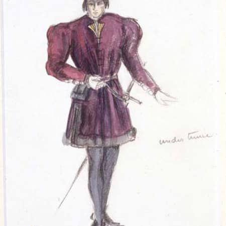 Costume design sketch for Richard III by Jeanetta Cochrane (1944)