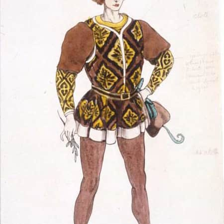 Costume design sketch for Romeo by Jeanetta Cochrane (1944), UAL
