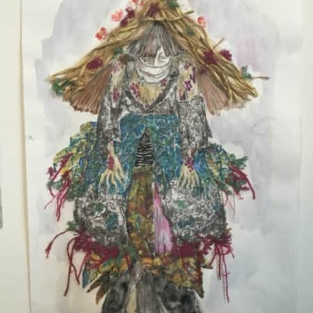 Costume design sketch for the witches in Macbeth by Yumiko Yakawa, UAL