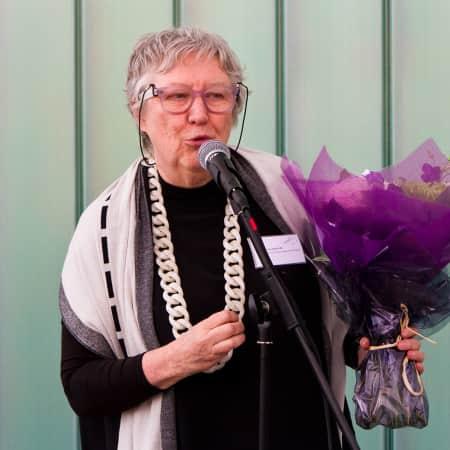 Jane Rapley giving her farewell speech to alumni