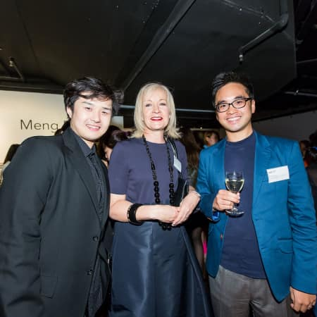 CSM's Dean of Fashion, Anne Smith, and Adrian Cheng with guest at the HK Alumni and Friends Reception 2013
