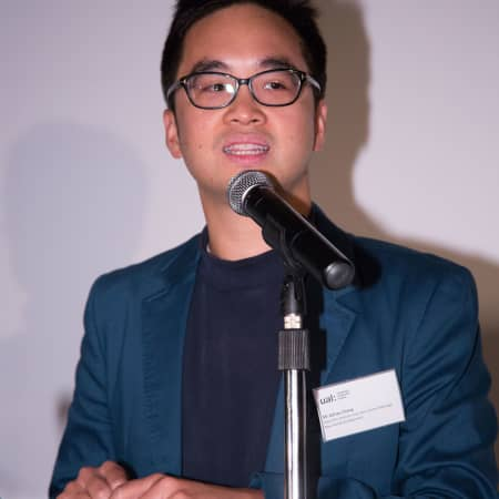 Event sponsor, Adrian Cheng, speaking at the HK Alumni and Friends Reception 2013