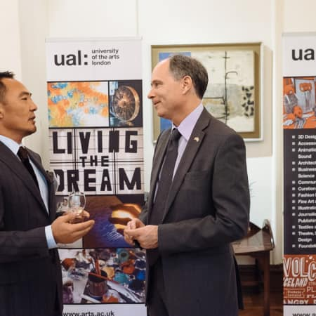 Image of guests in coversation at UAL alumni event in Seoul, Korea