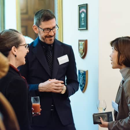 Image of two women and one men speaking at UAL alumni event in Seoul, Korea