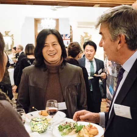 Guests enjoy canapés and conversation at the UAL alumni event in Seoul, Korea