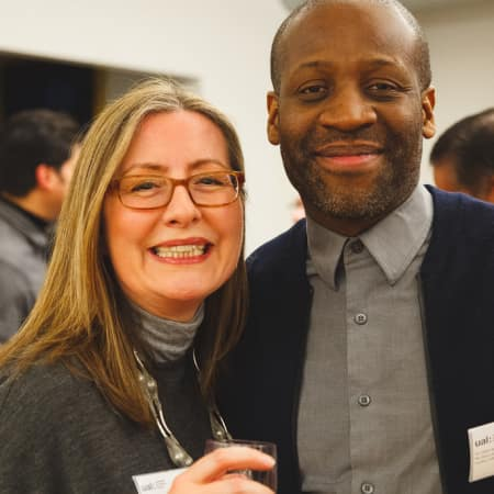 Helen Keyes and Eddie Opara at UAL Alumni event New York