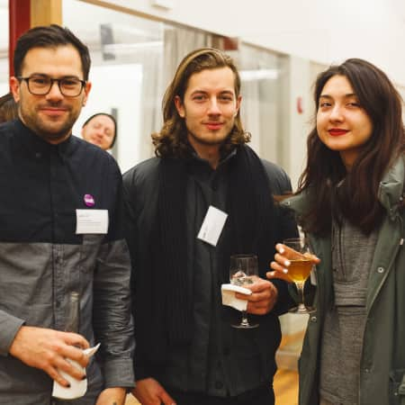 Ben Wilkinson-Raemer with guests at UAL Alumni Event in New York