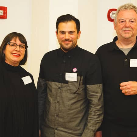Natalie Brett, Ben Wilkinson-Raemer and Chris Wainwright at the UAL Alumni event, New York