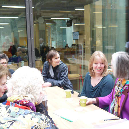 Class of 1973 meeting for coffee at the new King's Cross campus