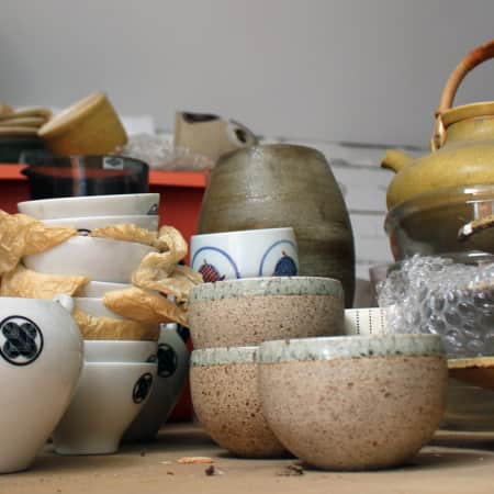 A collection of ceramics in storage.