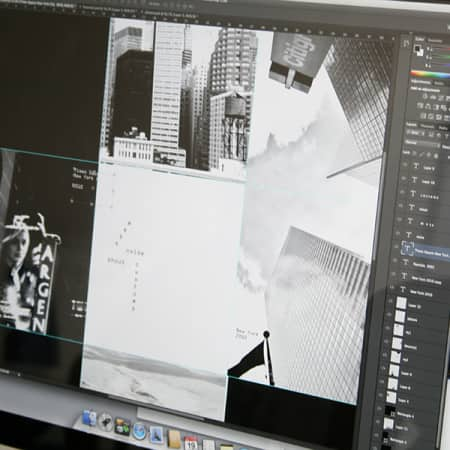Photographic image being edited on an iMac screen.