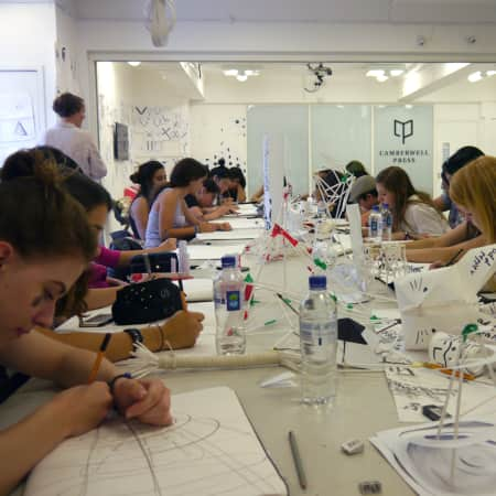 Students in a graphic design workshop during UAL International Summer School.
