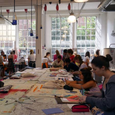 Workshop in the textile studios during UAL International Summer School for 16 - 18 Year Olds. Photograph: Robert Green