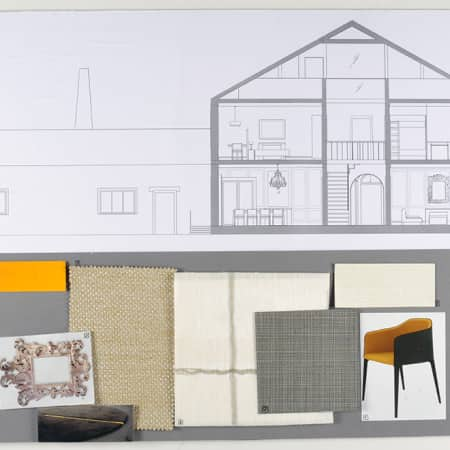Technical Elevation Drawing With Sample Board Created By Short Course Student During Interior Design