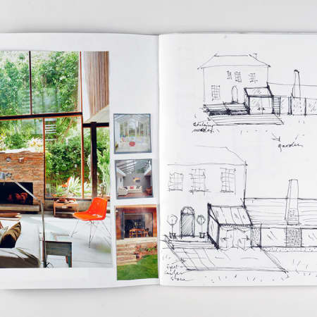 Sketchbook created by short course student during Interior Design - Module Three. Photograph courtesy UAL Short Courses.