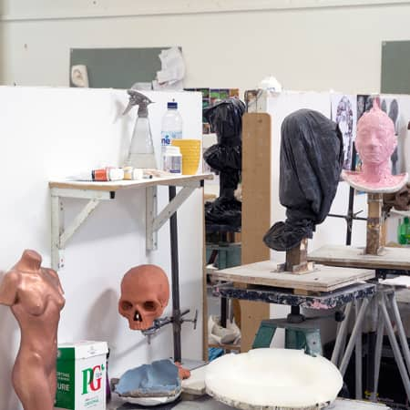 Wimbledon College of Arts short course studio used during Portrait Sculpture. Photograph: Jasmin Woolley-Butler.