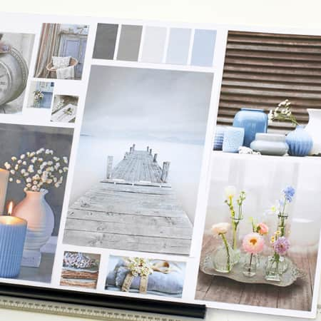Interior design concept board created on Interior Decoration and Styling. Photograph courtesy UAL Short Courses.
