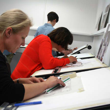 Short course students working on project brief in the Interior Design Studio. Photograph: Lisa Hall.