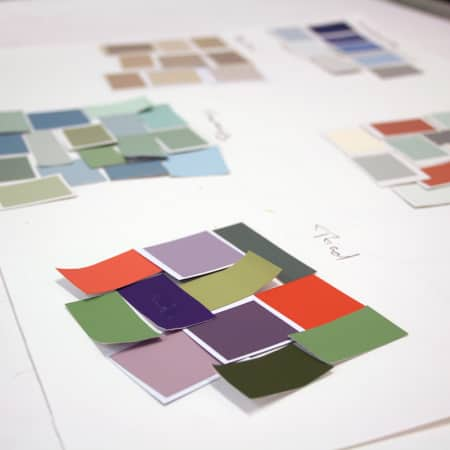 Colour schemes created using paint samples during a short course. Photograph courtesy UAL Short Courses.