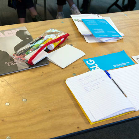 Short course student's notebook from Art Criticism and Writing. Photograph: Jasmin Woolley-Butler.