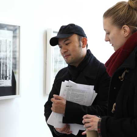 Students visiting a contemporary art gallery during a short course. Photograph: Spine Photographic.