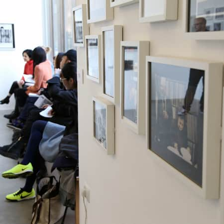 Short course students visiting a contemporary art gallery in London. Photograph: Spine Photographic.
